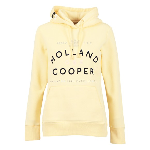 Holland Cooper Womens Yellow GBE Flock Logo Hoody main image