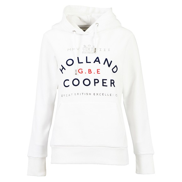 Holland Cooper Womens White GBE Flock Logo Hoody main image