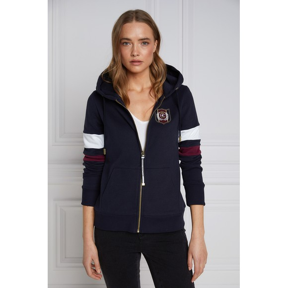 Holland Cooper Womens Blue Crested Zip Hoody