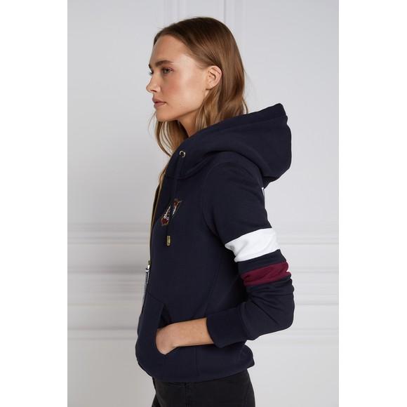Holland Cooper Womens Blue Crested Zip Hoody main image