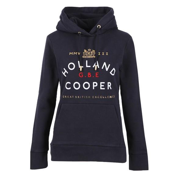 Holland Cooper Womens Blue GBE Flock Logo Hoody main image