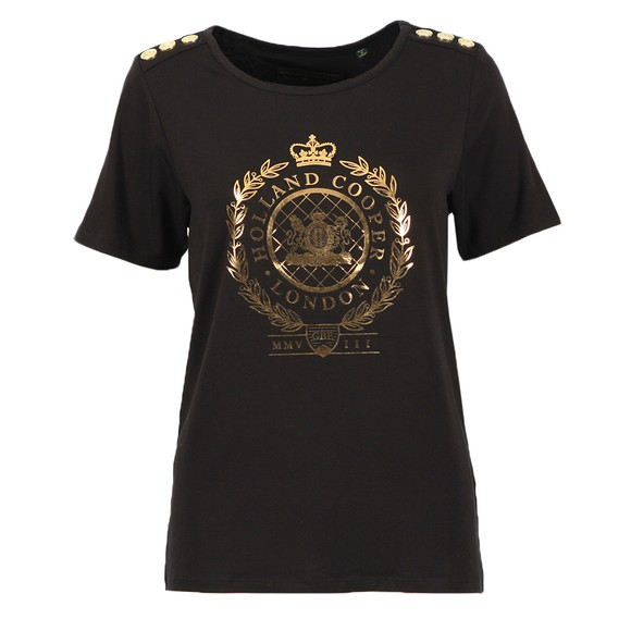 Holland Cooper Womens Black Ornate Crest T Shirt