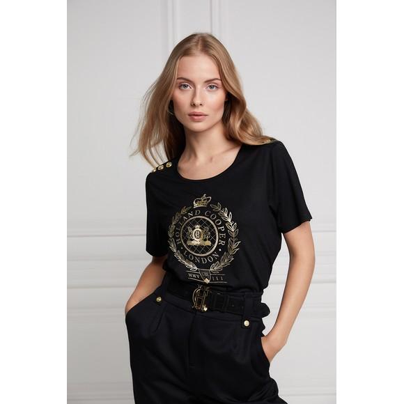 Holland Cooper Womens Black Ornate Crest T Shirt main image