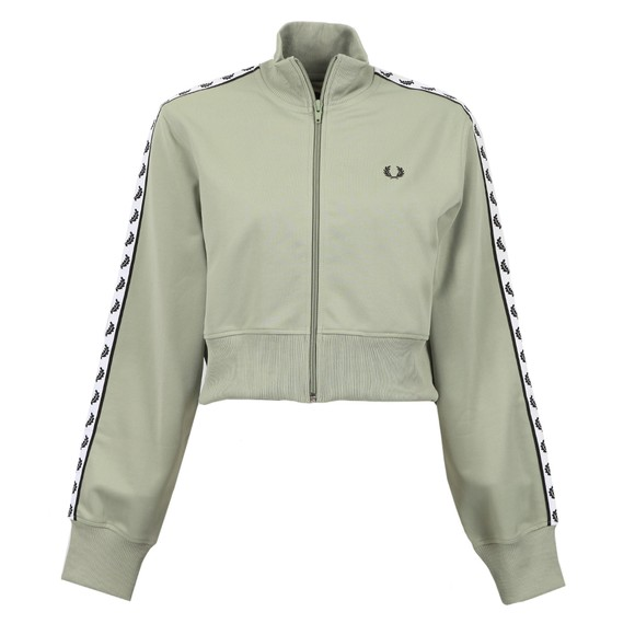 Fred Perry Womens Turquoise Cropped Taped Track Jacket