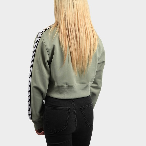 Fred Perry Womens Turquoise Cropped Taped Track Jacket main image
