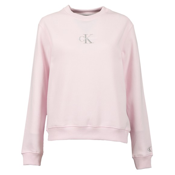 Calvin Klein Jeans Womens Pink Monogram Logo Sweatshirt