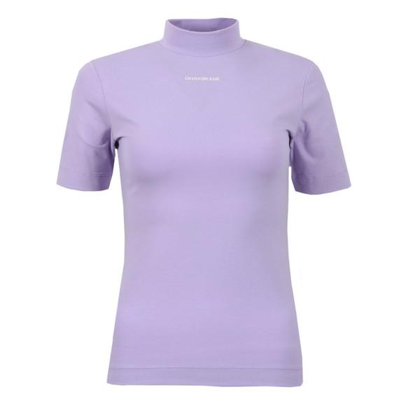 Calvin Klein Jeans Womens Purple Micro Branding Stretch High Neck T Shirt