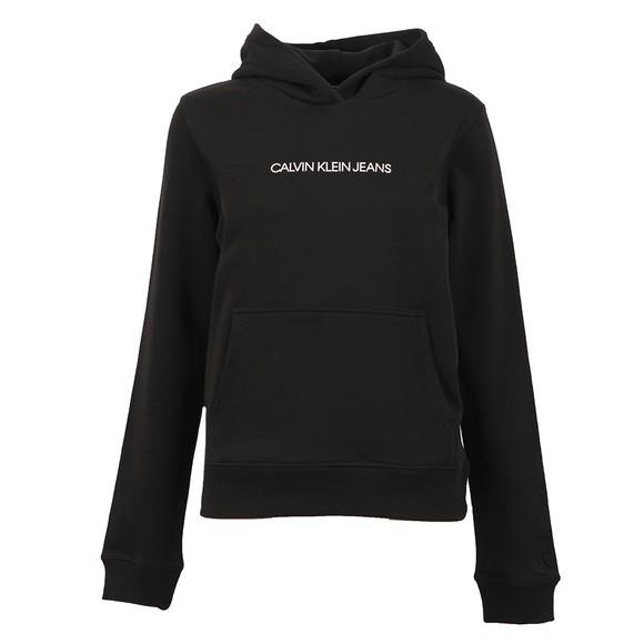 Calvin Klein Jeans Womens Black Shrunken Institution Hoodie