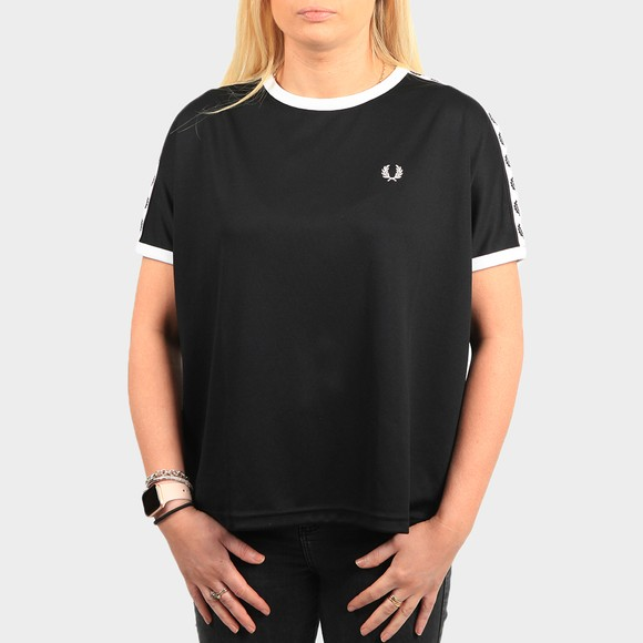 Fred Perry Womens Black Boxy Taped Ringer T Shirt main image