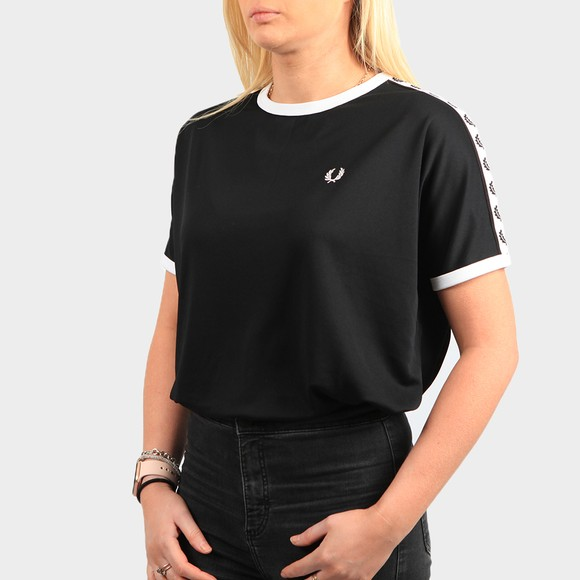 Fred Perry Womens Black Boxy Taped Ringer T Shirt