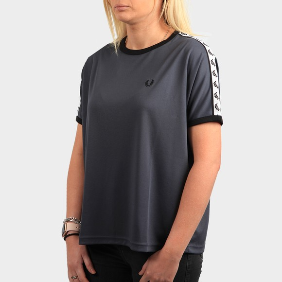 Fred Perry Womens Blue Boxy Taped Ringer T Shirt