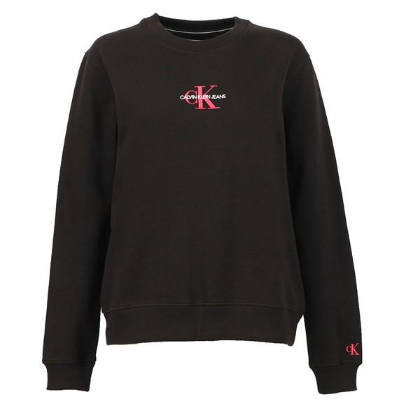 Calvin Klein Jeans Womens Black Monogram Logo Sweatshirt