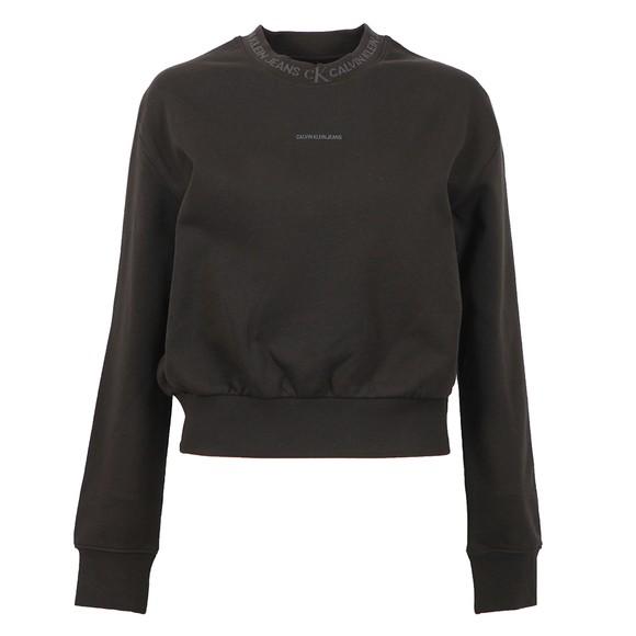 Calvin Klein Jeans Womens Black Logo Trim Sweatshirt