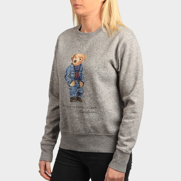 Polo Bear By Ralph Lauren Womens Grey Denim Bear Crew Sweatshirt