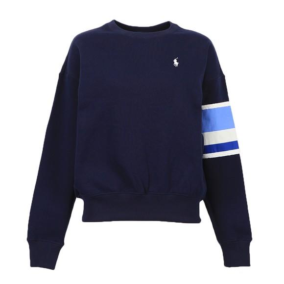 Polo Ralph Lauren Womens Blue Relaxed Fit Stripe Sleeve Crew Sweatshirt