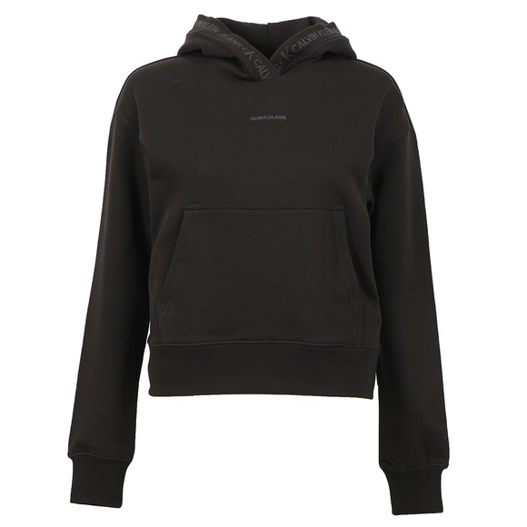 Calvin Klein Jeans Womens Black Logo Trim Hoodie