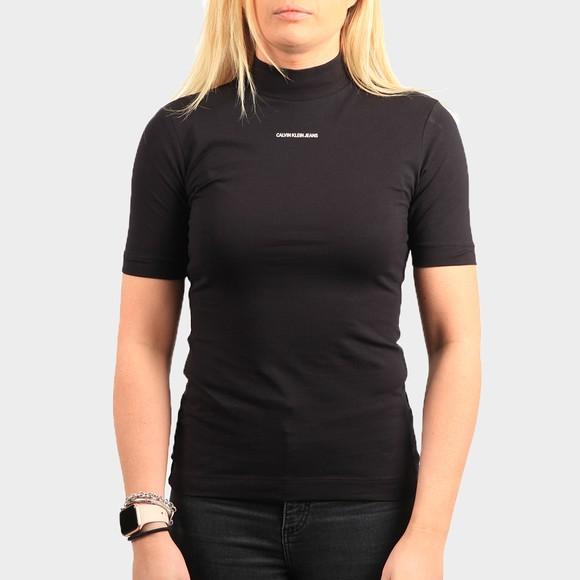 Calvin Klein Jeans Womens Black Micro Branding Stretch High Neck T Shirt