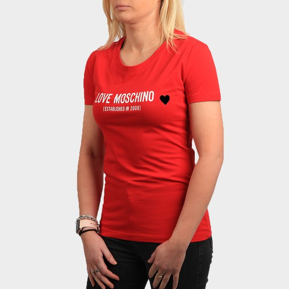 Love Moschino Womens Red Established Logo T Shirt