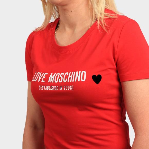 Love Moschino Womens Red Established Logo T Shirt main image