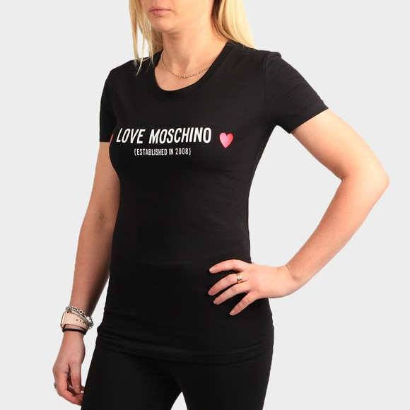 Love Moschino Womens Black Established Logo T Shirt