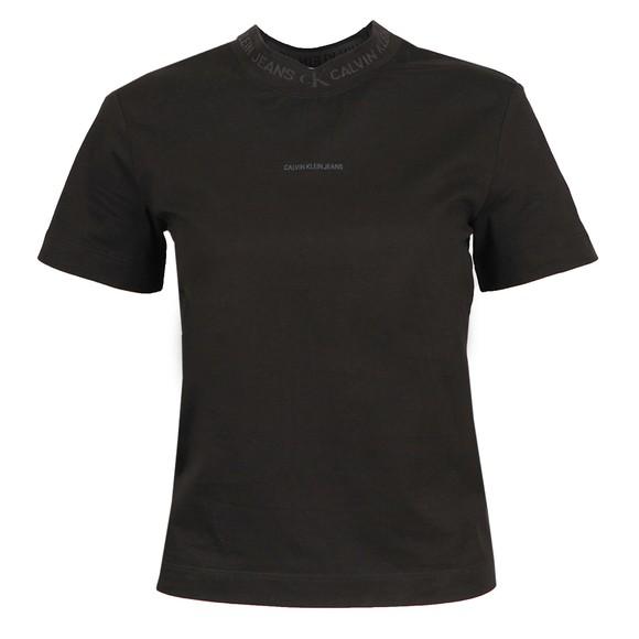 Calvin Klein Jeans Womens Black Logo Intarsia T-Shirt
