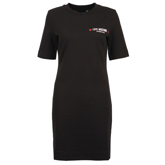 Love Moschino Womens Black Small Established Logo Dress
