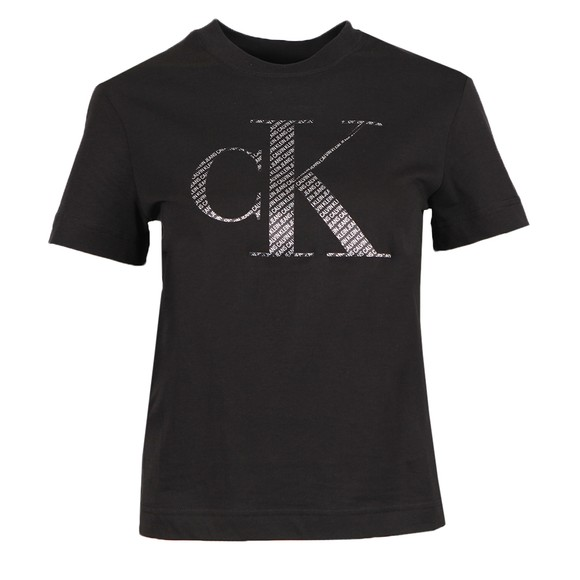 Calvin Klein Jeans Womens Black Satin Bonded Filled T-Shirt