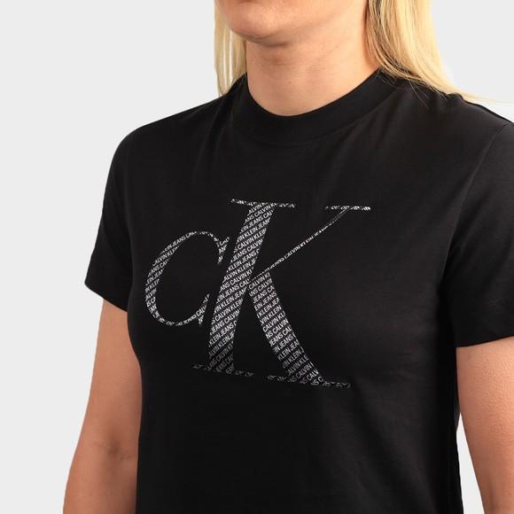 Calvin Klein Jeans Womens Black Satin Bonded Filled T-Shirt main image