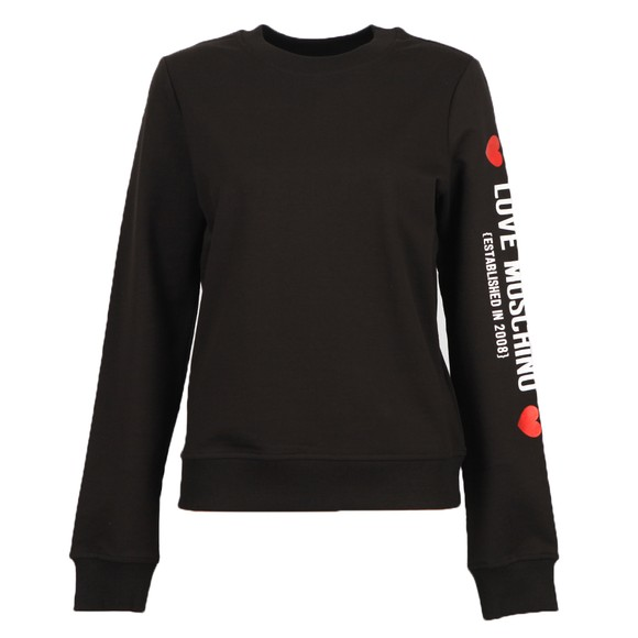 Love Moschino Womens Black Sleeve Logo Sweatshirt