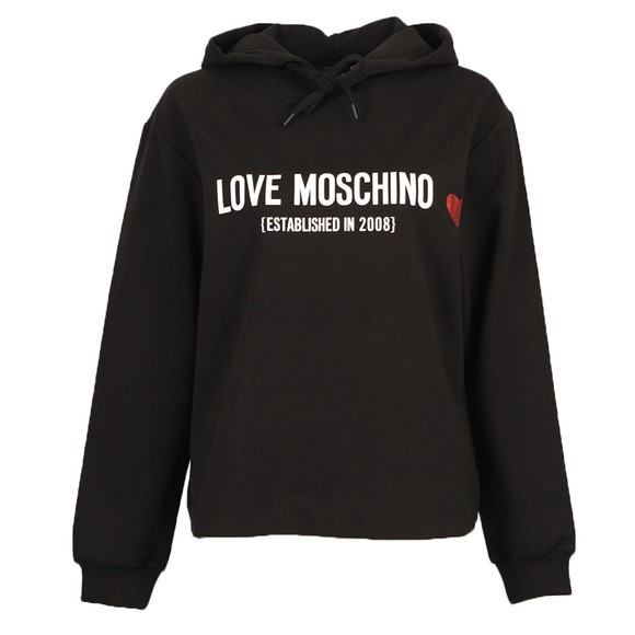 Love Moschino Womens Black Established Love Overhead Hoody