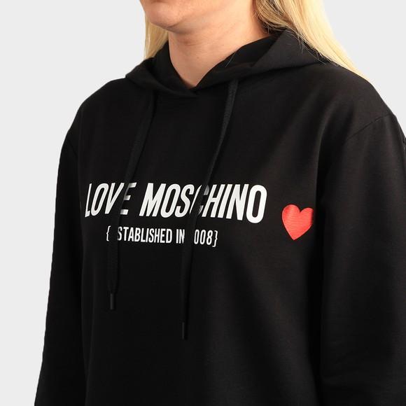 Love Moschino Womens Black Established Love Overhead Hoody main image