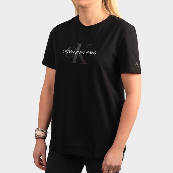 Calvin Klein Jeans Womens Black Reflective Monogram T Shirt