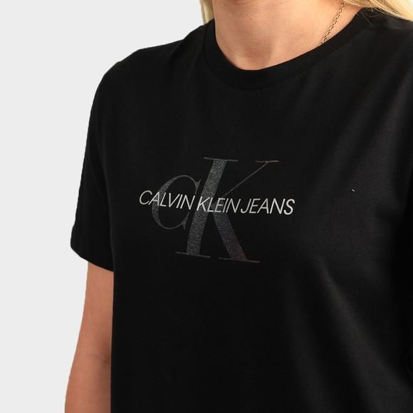Calvin Klein Jeans Womens Black Reflective Monogram T Shirt main image