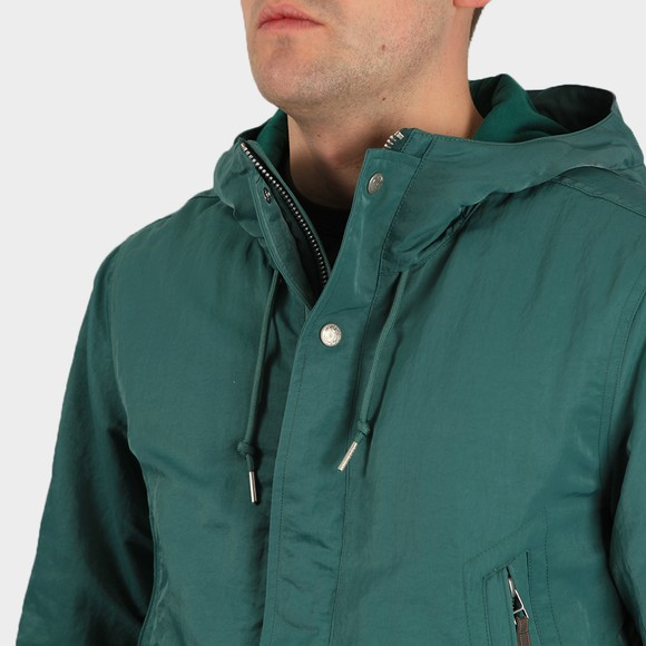 Pretty Green Mens Blue Crinkle Nylon Hooded Jacket main image