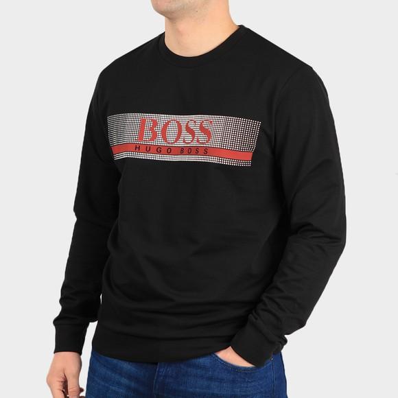 BOSS Bodywear Mens Black Pixelated Authentic Sweatshirt