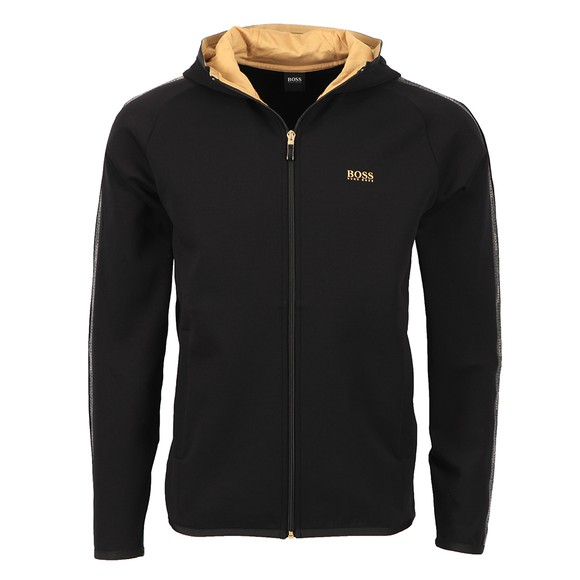BOSS Mens Black Athleisure Saggy 2 Gold Logo Zip Hoody
