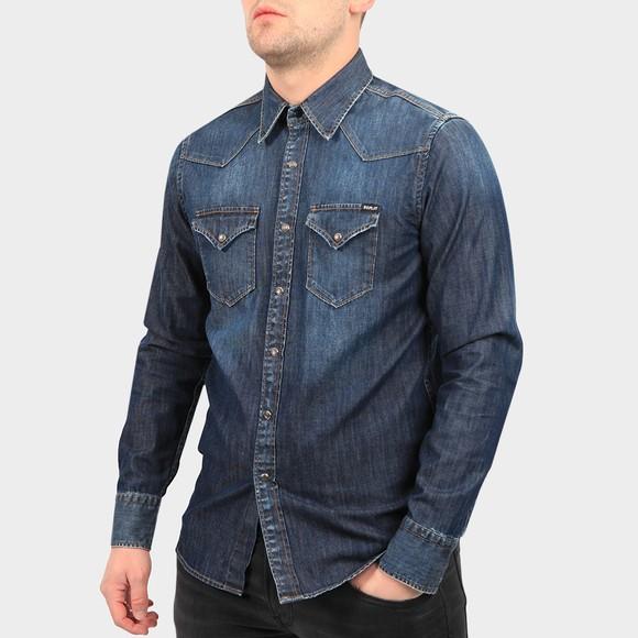 Replay Mens Blue Twin Pocket Denim Shirt