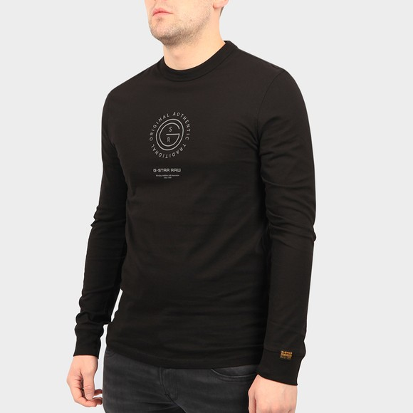 G-Star Mens Black Reflective Multi Graphic Long Sleeve T Shirt