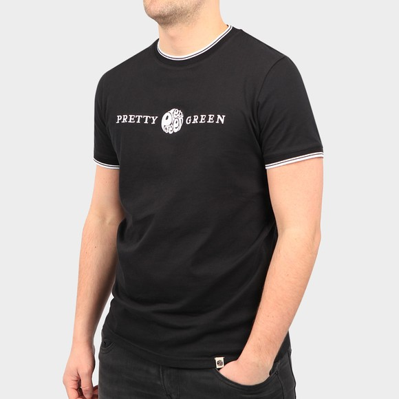 Pretty Green Mens Black Embroidered T Shirt main image