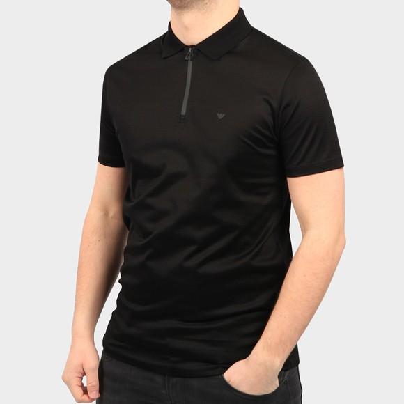 Emporio Armani Mens Black Zip Neck Polo Shirt