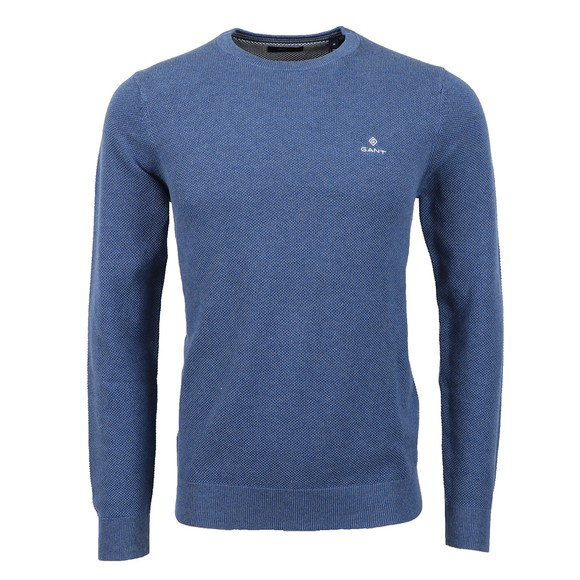Gant Mens Blue Cotton Pique Crew Jumper