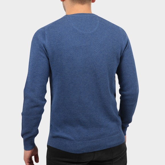 Gant Mens Blue Cotton Pique Crew Jumper main image