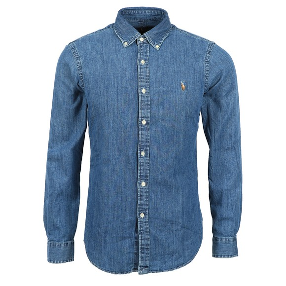 Polo Ralph Lauren Mens Blue Slim Fit Button Down Denim Shirt