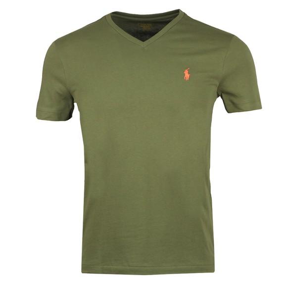 Polo Ralph Lauren Mens Green Custom Slim Fit V Neck T Shirt