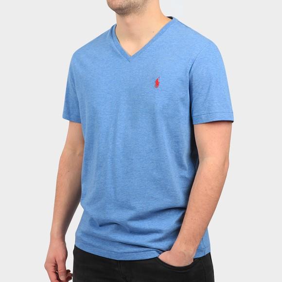 Polo Ralph Lauren Mens Blue Custom Slim Fit V Neck T Shirt