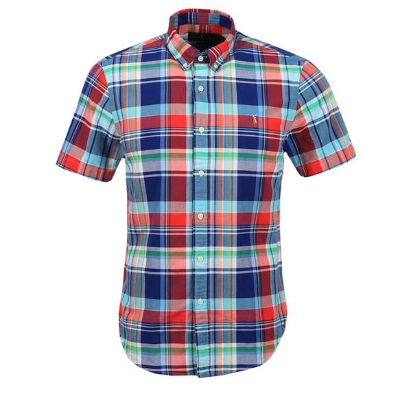 Polo Ralph Lauren Mens Red Check Slim Fit Short Sleeve Shirt