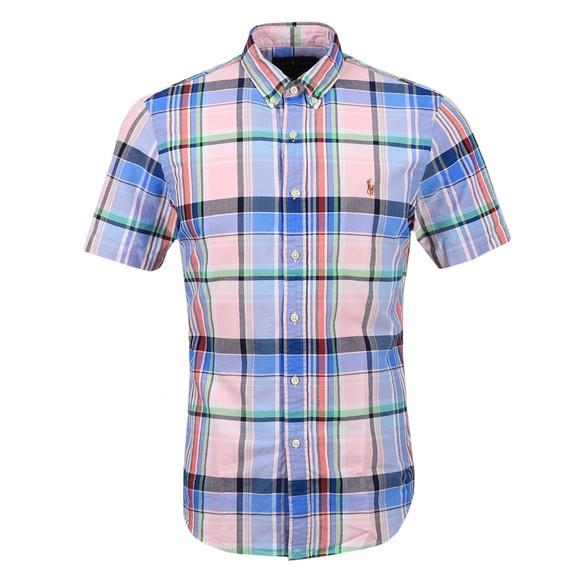 Polo Ralph Lauren Mens Pink Check Slim Fit Short Sleeve Shirt