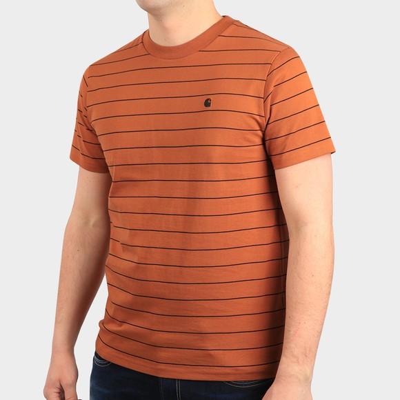 Carhartt WIP Mens Orange Denton Stripe T Shirt