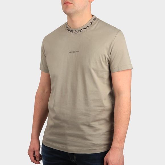 Calvin Klein Jeans Mens Grey Logo Jacquard T Shirt
