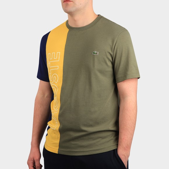 Lacoste Mens Green TH0113 Lettering Colourblock T-Shirt